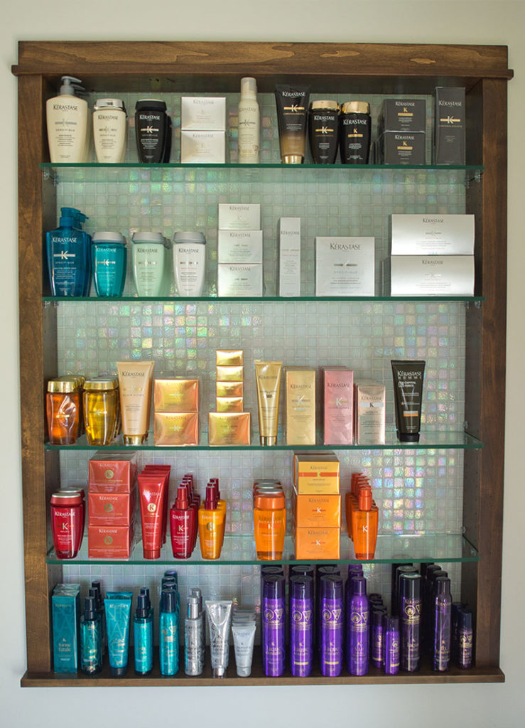 Shelf of professional hair styling products